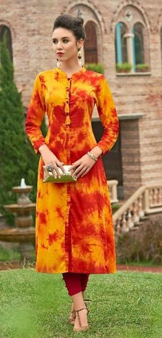 #yellow #maroon #colourful #print  #rayon #kurti | yellow maroon colourful  kurti | rayon kurti | fancy wear | casual wear | ethnic wear | Casual Work Outfits, Classy Outfits, Casual Dresses, Long Kurti Patterns, Dress Patterns, Salwar Designs, Blouse Designs, Printed Kurti Designs, Suits For Women