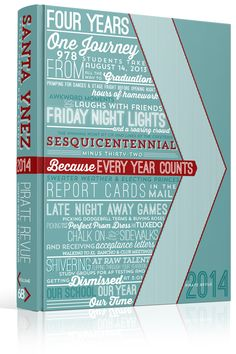 "Yearbook Cover - Santa Ynez Valley Union High School - ""Sesquicentennial Minus Thirty Two: Because Every Year Counts"" Wordle, Typographic, Arrows, Chevrons, Lines, Angles, Slanted Lines, Triangles"
