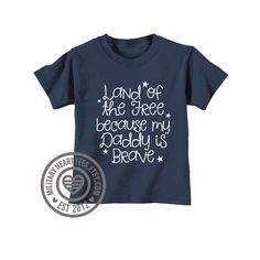 Infant or Toddler Land of the Free because my by MilitaryHeartTees