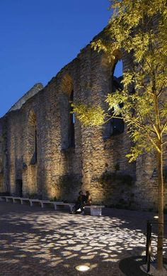 Gobo light, pole, exterior, romanic wall, sitting area, tree uplight