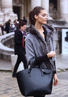 Love this Zara bag and Grey Faux Fur Wrap