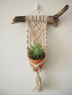 Macrame Plant Hanger Wall Hanging Fits Mini Pot Woven Indoor Vertical Garden Handmade Home Decor Interior Design Hanging Plants - MALUA This beautiful little hanging basket is handmade, with fine details and a magnificent tassel. Macrame Design, Macrame Art, Macrame Knots, Micro Macrame, Macrame Projects, Macrame Patterns, Hanging Plants, Plants Indoor, Porch Plants