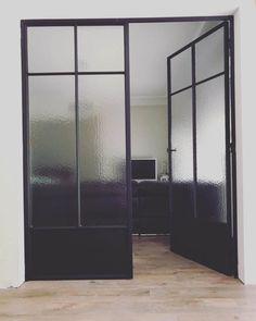 steel and steel look interior doors 8 – Door Types Glass Office Doors, Glass Door, House Windows, Windows And Doors, Door Design, House Design, Steel Frame Doors, French Doors Bedroom, Iron Front Door