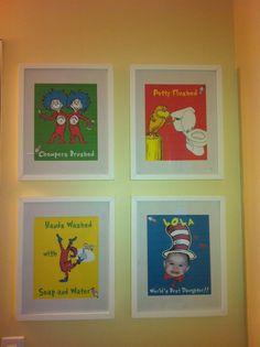 Custom Dr Seuss prints/signs for bathroom.