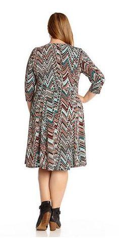 c5998fc51c6 Karen Kane Plus Size Fashion Plus Size Fashion Three Quarter Sleeve  Geometric Snakeskin T Shirt Dress available from Nordstrom