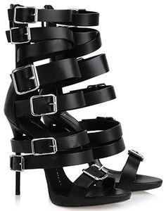 Giuseppe Zanotti E40186 Buckled Multi-Strap High Heel Sandals in black