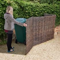Stow away your unattractive wheelie bins using this traditional double, willow, wheelie bin store. Visit Shedstore for our fantastic range of wheelie bins. Recycling Storage, Shed Storage, Storage Bins, Bin Storage Ideas Wheelie, Back Gardens, Small Gardens, Outdoor Gardens, Bin Store Garden, Bin Shed