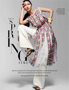 nice Jisu Hong rocks spring dresses style for Harper's Bazaar Singapore February 2016 by Yu Tsai [fashion]