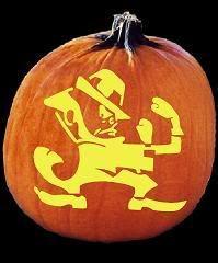 Notre Dame fighting Irish pumpkin! Amazing carved pumpkin.