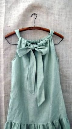 Linen Bow Ruffle Dress in Cypress Green from down de bayou...available in small  medium large extra large and plus. $90.00, via Etsy.