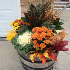 More than Mums! Fall Planters & Containers With Vivre! - Inspire Floral Boutique Fall Planters, Garden Planters, Autumn Garden Pots, Autumn Planter Ideas, Fall Containers, Succulent Containers, Plastic Containers, Hens And Chicks, Container Flowers