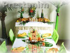 Décoration table thème antillais et madras anis et blanc