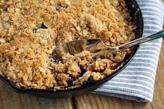 Apple blueberry crisp- making a mini one with leftovers!