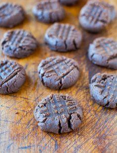 Chocolate Peanut Butter Cookies (GF) - No butter, No white sugar, and No flour used averiecooks.com