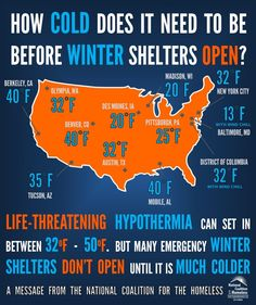 How cold does it have to be before homeless shelters open? You'd be surprised. It breaks my heart to see someone walk by and not extend help.
