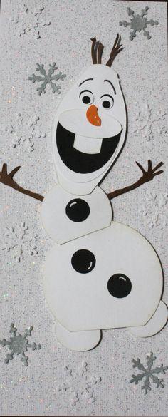 Olaf Handmade Card Snowman Frozen by HootandTootsLoot on Etsy