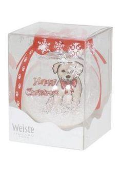 WEISTE, Собака Рисунок шарика Хороший подарок идея! В яркий прозрачный Рождественский бал изображения собак и текста Счастливого Рождества.Диаметр 85 мм и упакован в стильный пластиковой коробке.