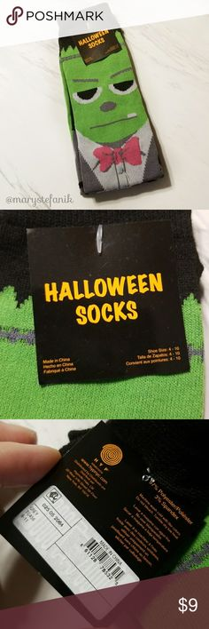 {New} NWT Frankenstein Halloween Crew Socks 4 - 10 {New} NWT Frankenstein Halloween Crew Socks fits shoe size 4 - 10. New with tags. Fun socks! Please let me know if you have any questions. Happy Poshing! Hyp Accessories Hosiery & Socks