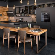Une cuisine noire et bois, Mobalpa Italian Interior Design, Classic Interior, Best Interior, Loft Kitchen, Kitchen Interior, Kitchen Decor, Kitchen Island, Kitchen Ideas, The Residents