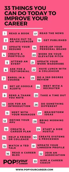 Career infographic : 33 Things You Can Do Today To Improve Your Career  Pop Your Career