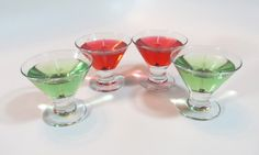 mini martini candle unscented, green martini candle, appletini candle, red martini candles, martini candles, christmas candles