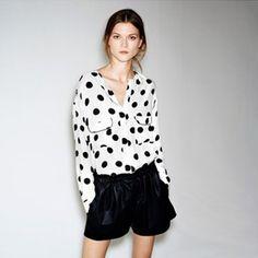 9,03 white black dots blouse