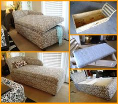 Here's an album that will show you how to make a chaise lounge with hidden storage. View it from start to finish: http://theownerbuildernetwork.co/werk