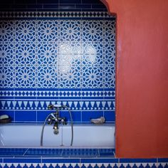 Blue Spanish-inspired bathroom | Traditional decorating ideas | Homes & Gardens | Housetohome.co.uk