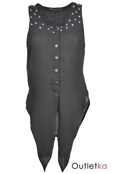 Nowa szyfonowa koszula firmy Crafted (od Republic) w kolorze czarnym. Asymetryczna - tył dłuższy. Bez rękawów. Zapinana na guziki. Ramiona i góra bluzki wykładane dżetami, co nadaje koszuli ciekawy i oryginalny wygląd. Z przodu wiązana. Z kompletem firmowych metek Crafted.