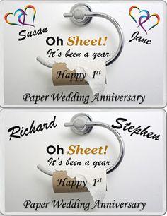 FRIDGE MAGNET SAME SEX GAY 1st year Paper Wedding Anniversary gift personalised