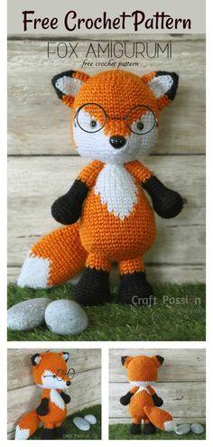 Crochet Fox Pattern Free, Crochet Amigurumi Free Patterns, Crochet Animal Patterns, Cute Crochet, Crochet Crafts, Crochet Dolls, Crochet Projects, Fox Amigurumi Pattern, Crochet Animals