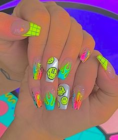 Halloween Acrylic Nails, Acrylic Nails Coffin Short, Simple Acrylic Nails, Best Acrylic Nails, Summer Acrylic Nails, Summer Nails, Edgy Nails, Grunge Nails, Funky Nails