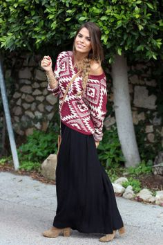 Maxi skirt + off the shoulder sweater + boots