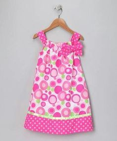 Take a look at this Pink Polka Dot Shift Dress - Infant, Toddler & Girls by Ribbons & Bows: Party Dresses on today! Sewing Clothes, Doll Clothes, Dress Sewing, Little Girl Dresses, Girls Dresses, Bella Dresses, Pillowcase Dress Pattern, Pillowcase Dresses, Toddler Girl Dresses