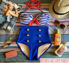Hannah++Retro+Vintage+Pin+Up+Handmade+Nautical+by+RosesnLetters,+$39.99
