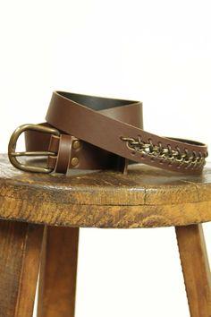 Cinturón de piel color marrón con cadena. 2,8 cm., belt, new colection, System Action, clothes, ropa, tienda online, online shop, accessories, bag, shoes, scarves, bufanda