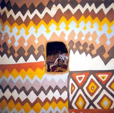 I really think we need to amp up our #tribalchic house design style. Umm... seriously. Basotho house painting - South Africa