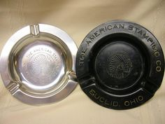2 Vintage American Stamping Co. Euclid Cleveland Ohio Ashtrays Black Silver