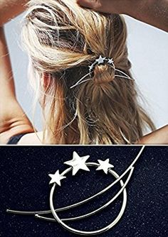 Amazon.com : Minimalist Romantic Crescent Moon Star Starry Sky Set Pierced Barrette Hair Fork Stick Slide Tuck Comb Clip Shawl Scarf Pin Brooch Hairpin Styling Ponytail Holder Bun Maker Tool Accessories GIFT : Beauty