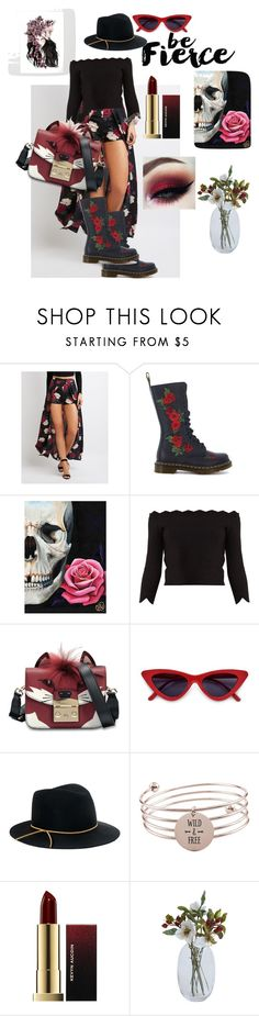 """She who runs with Foxes"" by melissa-jones-01 ❤ liked on Polyvore featuring Charlotte Russe, Dr. Martens, Alexander McQueen, Furla, Eugenia Kim, Pink Box and Kevyn Aucoin"