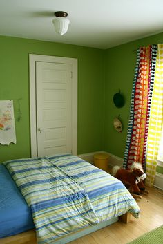 The Boys' Shared Bedroom - Deuce Cities Henhouse Nursery Curtains, Nursery Decor, Room Decor, Yellow Kids Rooms, Colorful Curtains, Home Bedroom, Playroom, Green Walls, Cool Stuff