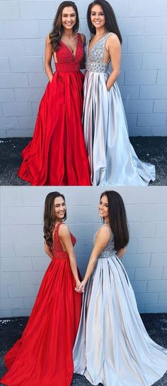 Cheap A-line Deep V Neck Beading Backless Long Prom Dress With Pockets Prom Dress Cheap Silver Prom Dress V Neck Prom Dress Backless Prom Dress V-neck Prom Dress Prom Dresses Long Prom Dresses For Teens, A Line Prom Dresses, Cheap Prom Dresses, Formal Evening Dresses, Wedding Dresses, Dress Prom, Elegant Dresses, Sexy Dresses, Summer Dresses