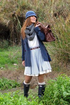 Navy Hunter Boots, Blue Coats, Dark Brown Blanco Bags, Sky Blue ... #hunter  #boots #navy #tall #rainboots