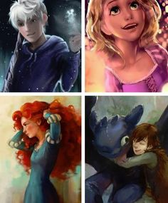 Jack, Rapunzel, Merida, Hiccup. ( even though neither Jack nor Hiccup are disney :D)