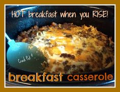 EASY Crock Pot Recipes for Breakfast! Egg Casserole ready for you when you rise! Crock Pot Food, Crockpot Dishes, Crock Pot Slow Cooker, Slow Cooker Recipes, Crockpot Recipes, Cooking Recipes, Slow Cooking, Breakfast Desayunos, Breakfast Dishes