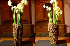 Blumenvase aus Baumrinde / Vase made of tree bark / Upcycling