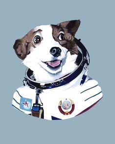Etsy の Strelka The Space Dog print 11x14 by berkleyillustration