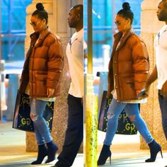 Rihanna North Face vintage brown puffer jacket from Goodbye Heart Woman…
