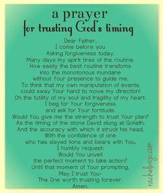 Prayer for trusting God's timing -  by Rachel Wojo