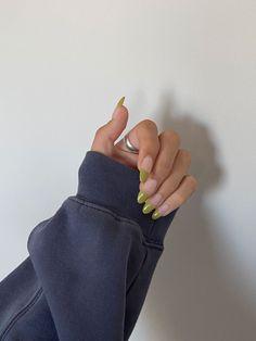 Chic Nails, Stylish Nails, Trendy Nails, Swag Nails, Colored French Nails, French Tip Nails, Light Nail Polish, Olive Nails, Simple Acrylic Nails